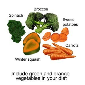 Include green and orange vegetables in your diet