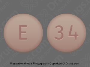 Pill Imprint E 34 (Clopidogrel Bisulfate 75 mg (base))