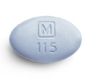M 115 Pill Images Blue Elliptical Oval