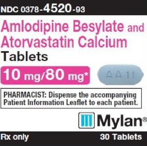 Amlodipine besylate and atorvastatin calcium 10 mg / 80 mg M AA11