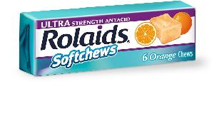 Rolaids ultra strength softchews (orange) calcium carbonate 1330 mg / magnesium hydroxide 235 mg none
