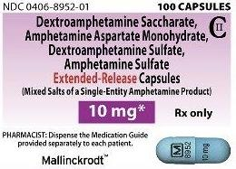 Amphetamine and dextroamphetamine extended release 10 mg M 8952 10 mg