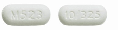 Acetaminophen and oxycodone hydrochloride 325 mg / 10 mg 10/325 M523