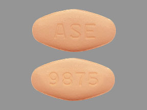Pill Imprint ASE 9875 (Ledipasvir and Sofosbuvir 90 mg / 400 mg)