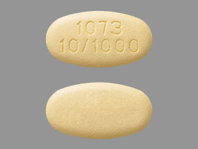 Pill Imprint 1073 10/1000  (Xigduo XR 10 mg / 1000 mg)