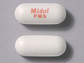 Pill Imprint Midol PMS  (Midol PMS Maximum Strength 500 mg / 25 mg / 15 mg)