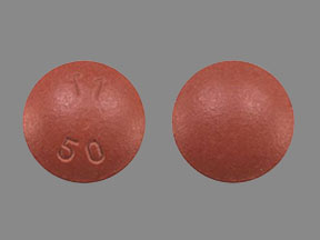 Pill Imprint T1 50 (Carbidopa, Entacapone and Levodopa 12.5 mg / 200 mg / 50 mg)