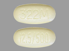 Pill Imprint 12.5/500 322M (Kazano 12.5 mg / 500 mg)