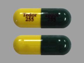 Pill Imprint Tedor 255 Tedor 255 (Phrenilin Forte acetaminophen 300 mg / butalbital 50 mg / caffeine 40 mg)