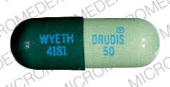 Pill Imprint ORUDIS 50 WYETH 4181 (Orudis 50 MG)