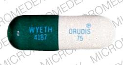 Pill Imprint ORUDIS 75 WYETH 4187 (ORUDIS 75 MG)