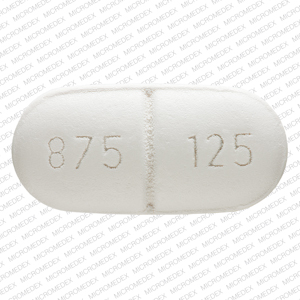 Pill Imprint 875 125 AMC (Amoxicillin and Clavulanate Potassium 875 mg / 125 mg)
