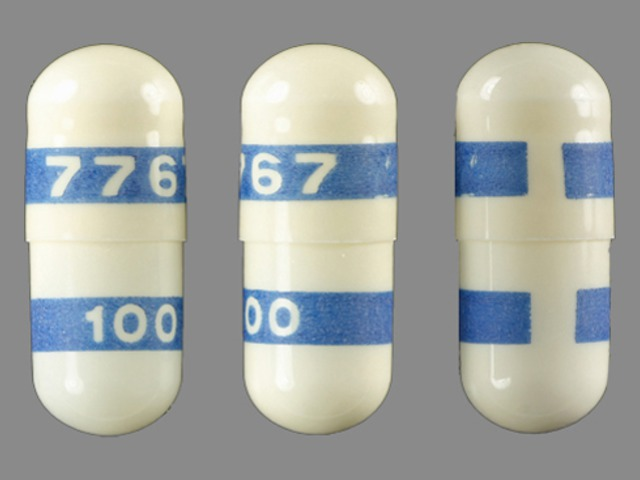 7767 100 Pill Images (White / Blue / Capsule-shape)
