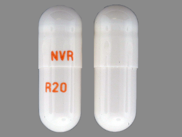 Pill Imprint NVR R20 (Ritalin LA 20 mg)