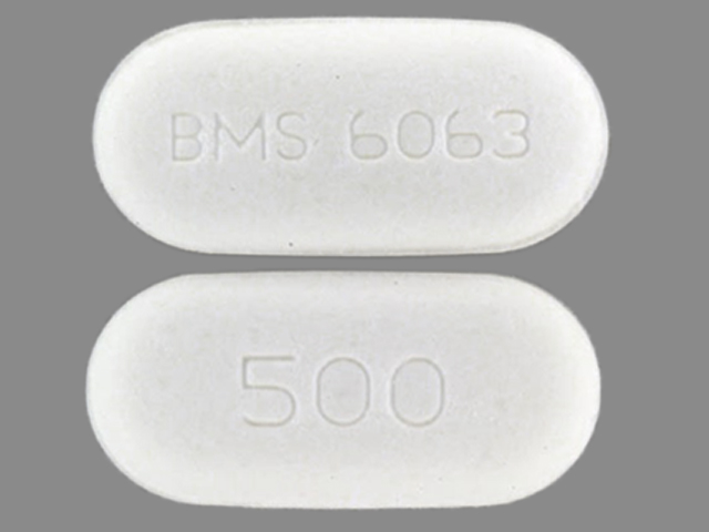 Pill Imprint BMS 6063 500 (Glucophage XR 500 mg)