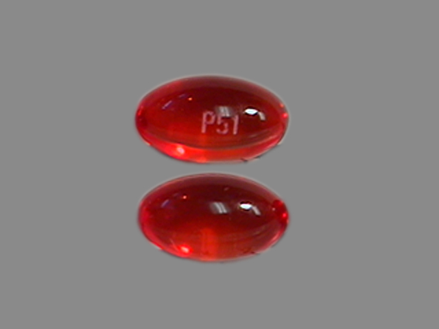 P51 Pill Images Red Elliptical Oval
