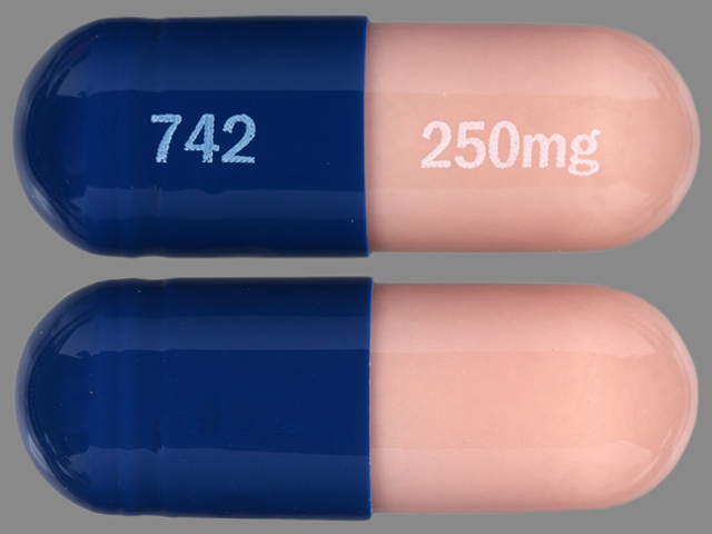 Vancomycin hydrochloride 250 mg (base) 742 250 mg