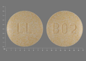 Pill Imprint B02 LL (Hydrochlorothiazide and lisinopril 12.5 mg / 20 mg)