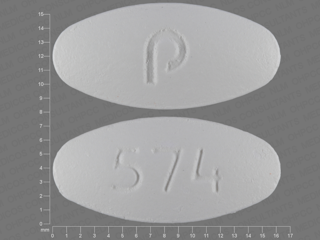 Pill Imprint p 574 (Amlodipine Besylate and Valsartan 5 mg / 160 mg)