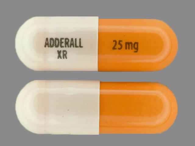 Adderall Xr 25 Mg Pill Images Orange White Capsule Shape