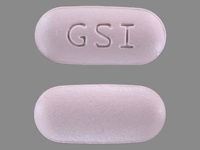 Pill Imprint GSI (Complera emtricitabine 200 mg, rilpivirine 25 mg and tenofovir disoproxil fumarate 300 mg)