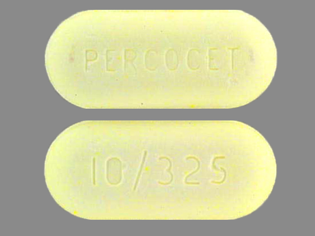 PERCOCET 10/325 Pill Images (Yellow / Elliptical / Oval)