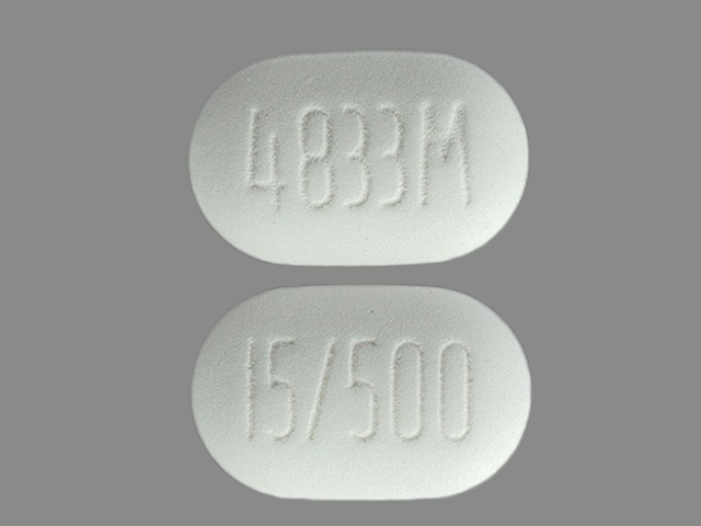 Pill Imprint 4833M 15/500 (Actoplus Met 500 mg / 15 mg)