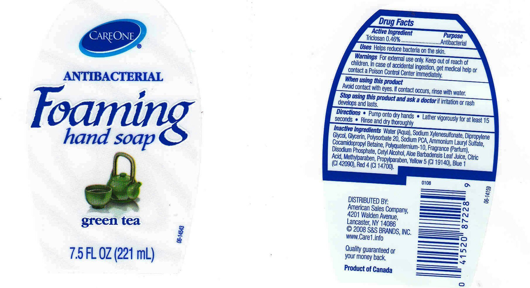 CARE ONE Antibacterial Foaming Hand Soap Green Tea (liquid) Apollo ...