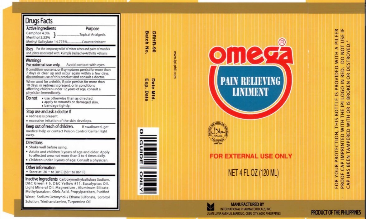 Omega Pain Relieving (liniment) International Pharmaceuticals, Inc