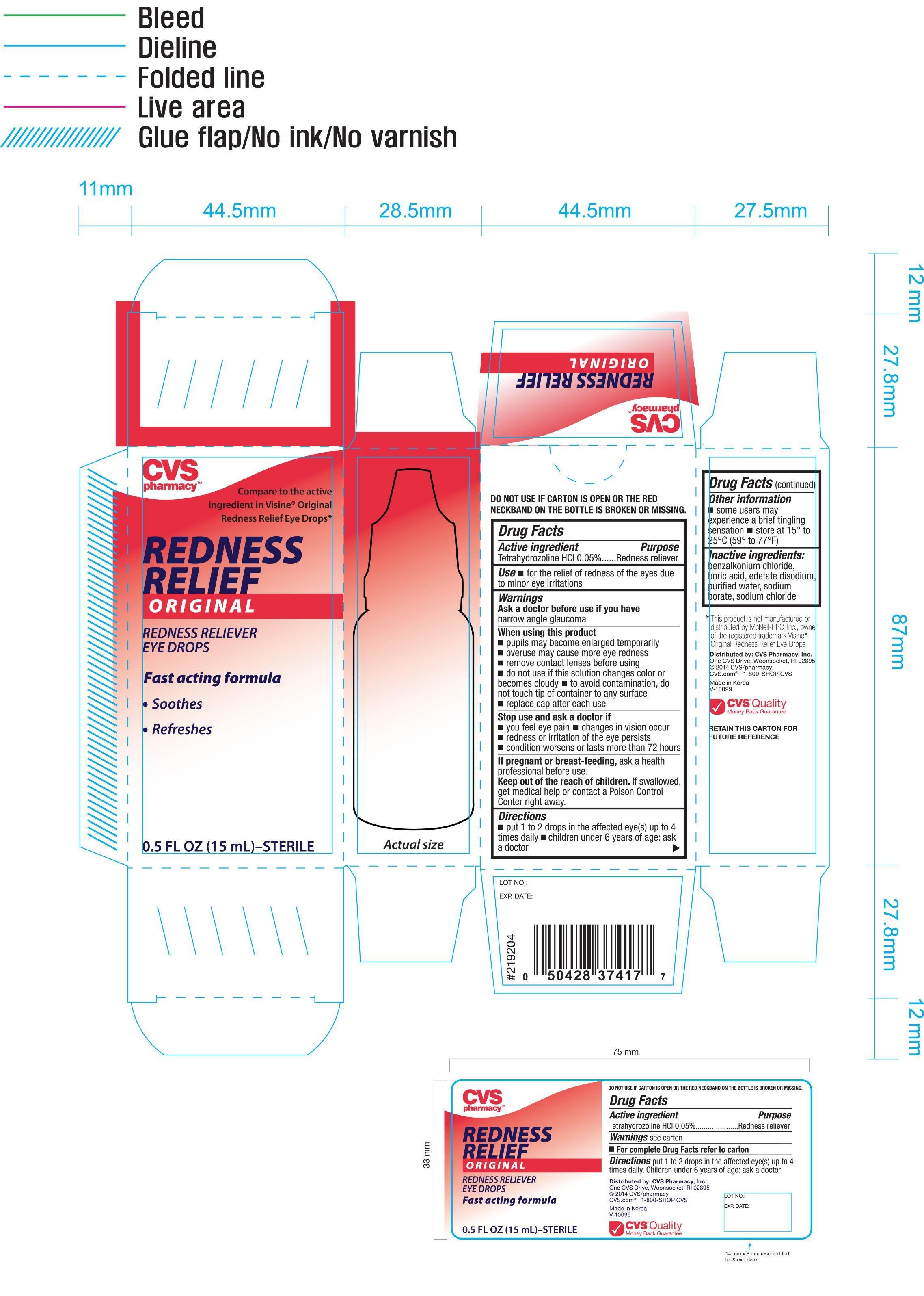 cvs redness relief original  solution   drops  cvs pharmacy  inc