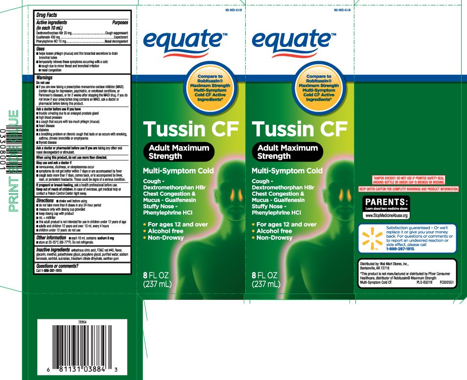 Tussin Cf Adult Maximum Strength Liquid Equate Walmart Stores Inc