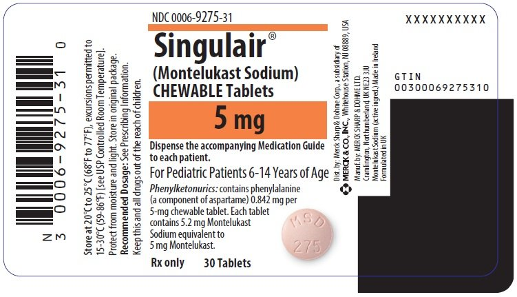 Singulair - FDA prescribing information, side effects and uses